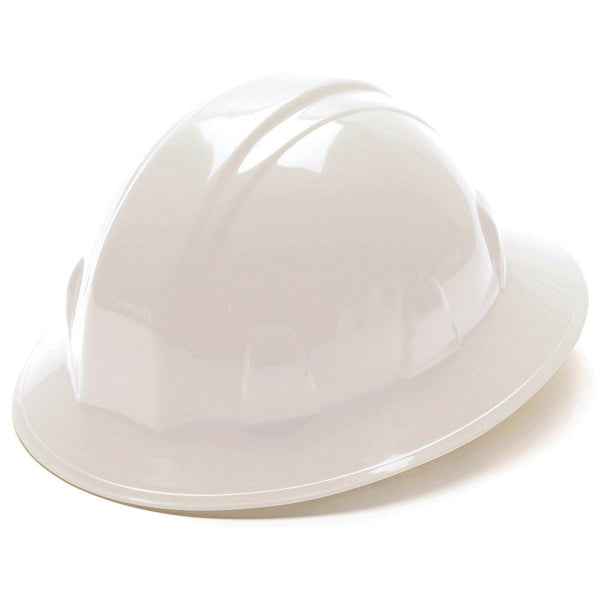 White Hard Hat Full Brim with Ratchet