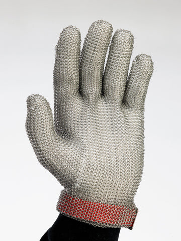 5 Finger Stainless Steel Mesh Glove, Enclosed Wrist Length, Polypropylene Strap, Sold By The Each