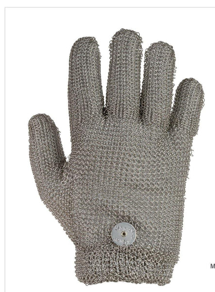 Steel Mesh Glove, Stainless Steel, with Spring Closure - Sizes XXS-XXL - Resistant to Knife Penetration - Made in the USA