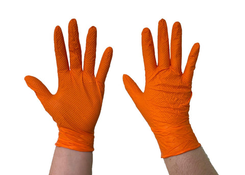 The Orange Diesel, Powder Free Nitrile Disposable Gloves, 6 Mil, Sizes M-XXL