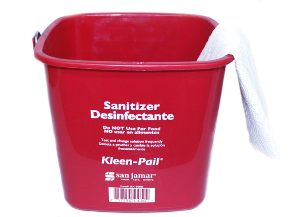 Sanitation Bucket Red 6 Qt., Food Service Safety