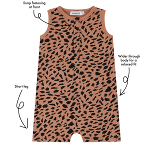 Kids Animal Print romper, snap placket front fasteners, short leg and relaxed fit body | Little Oeuf