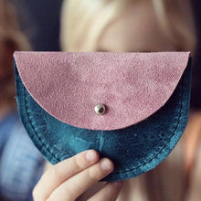 "Turquoise & Pink ""Puffin"" Leather Coin Purse/Bag - Little Oeuf"