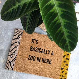 "Animal Print Doormat ""It's Basically a Zoo In Here"" - Little Oeuf"