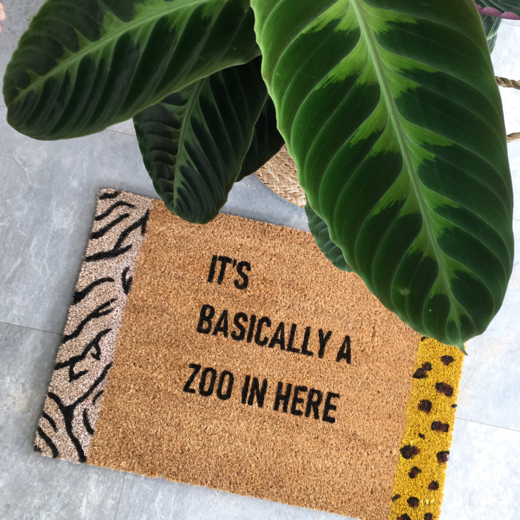 "Animal Print Doormat ""It's Basically a Zoo In Here"