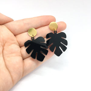 Small Black Monstera ~ Gold Stud Earrings - Little Oeuf