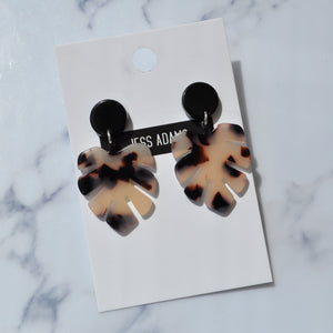 Small Black & Nude Monstera Leaf ~ Black Stud Earrings - Little Oeuf