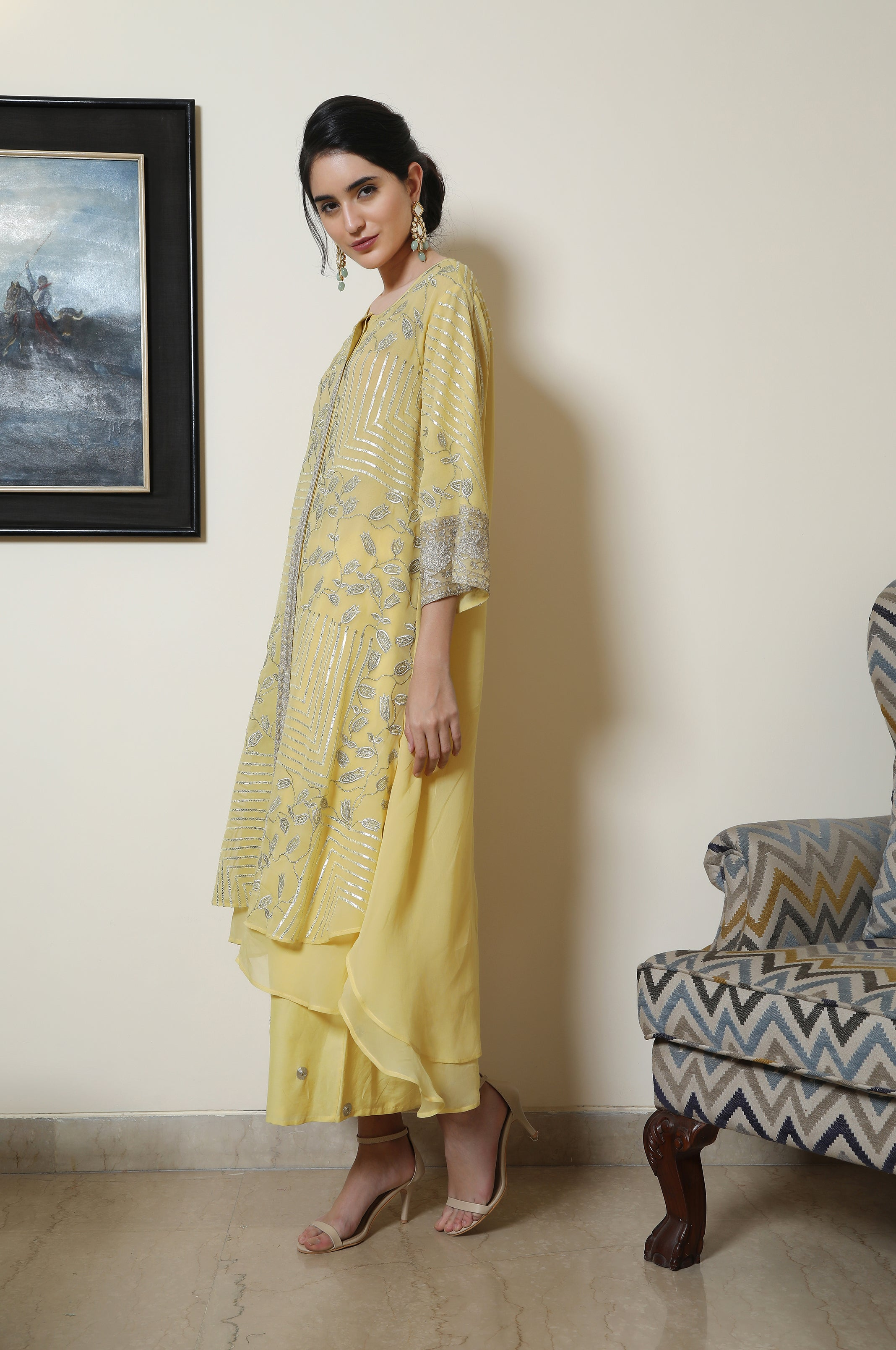 Heavy Embroidered Double Layer Georgette Tunic with Farshi