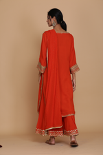 BURNT ORANGE STRAIGHT TUNIC WITH SHARARA AND DUPATTA
