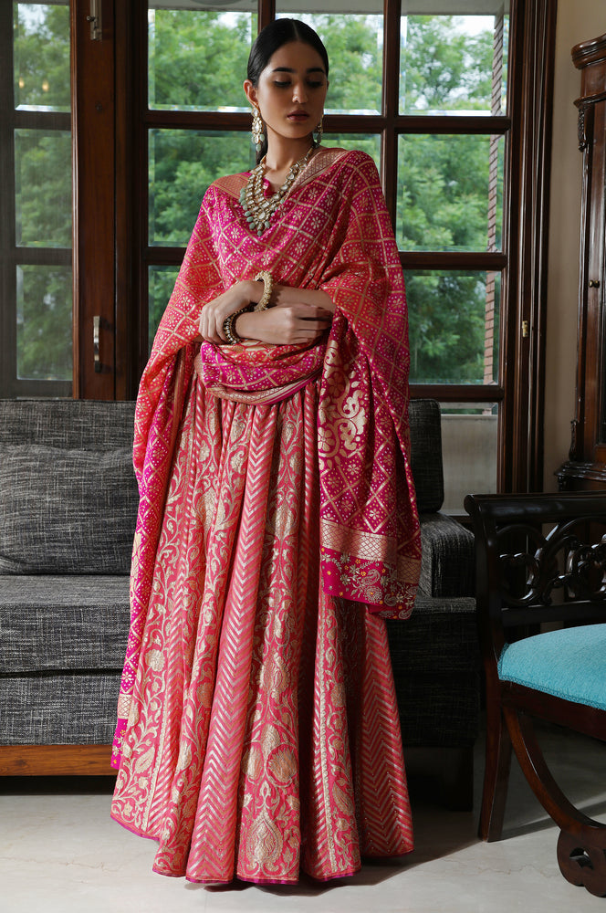 Banarasi lehenga with bandhej dupatta and tunic