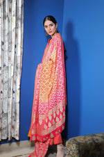 Asymmetrical tunic with sharara and bandhej dupatta