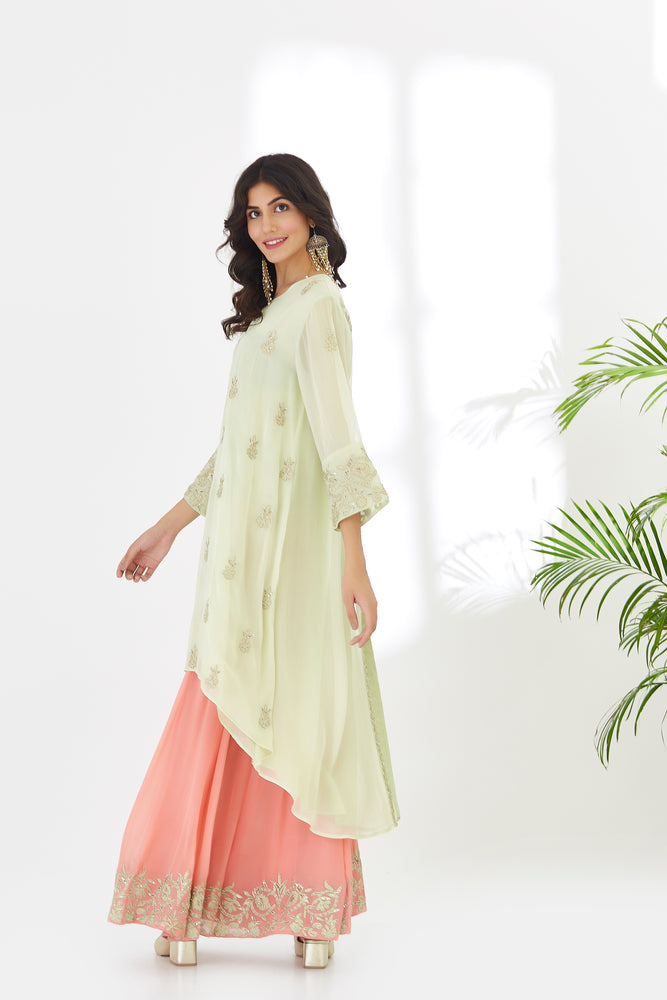 Asymmetrical Georget Tunic with Sharara | Pastel Green with Coral