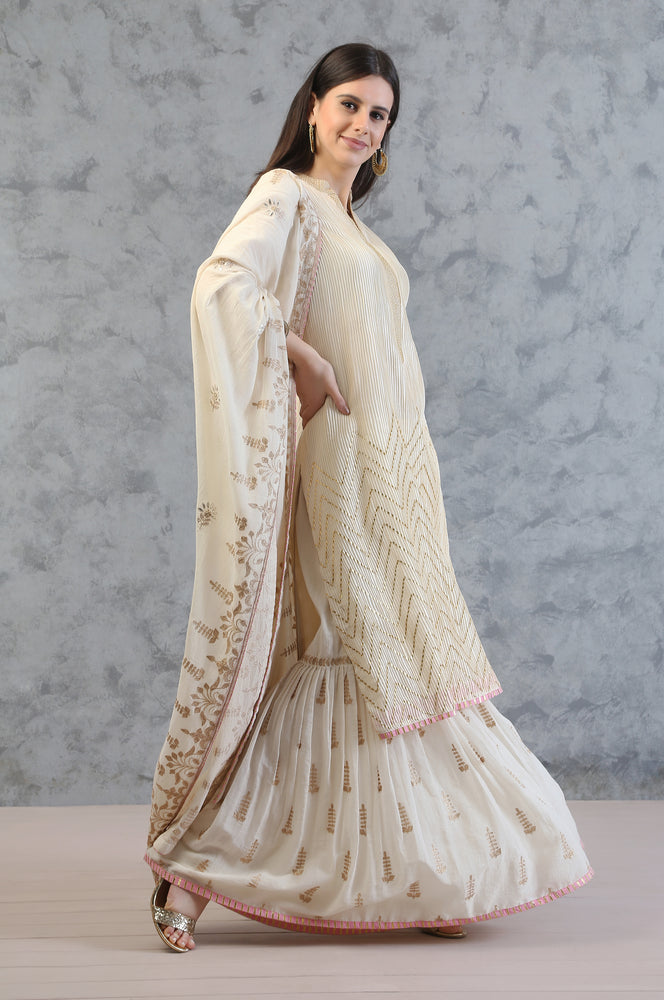 STRAIGHT TUNIC WITH GHARARA AND DUPATTA