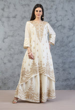 ASSYMETRICAL TUNIC WITH SHARARA AND DUPATTA