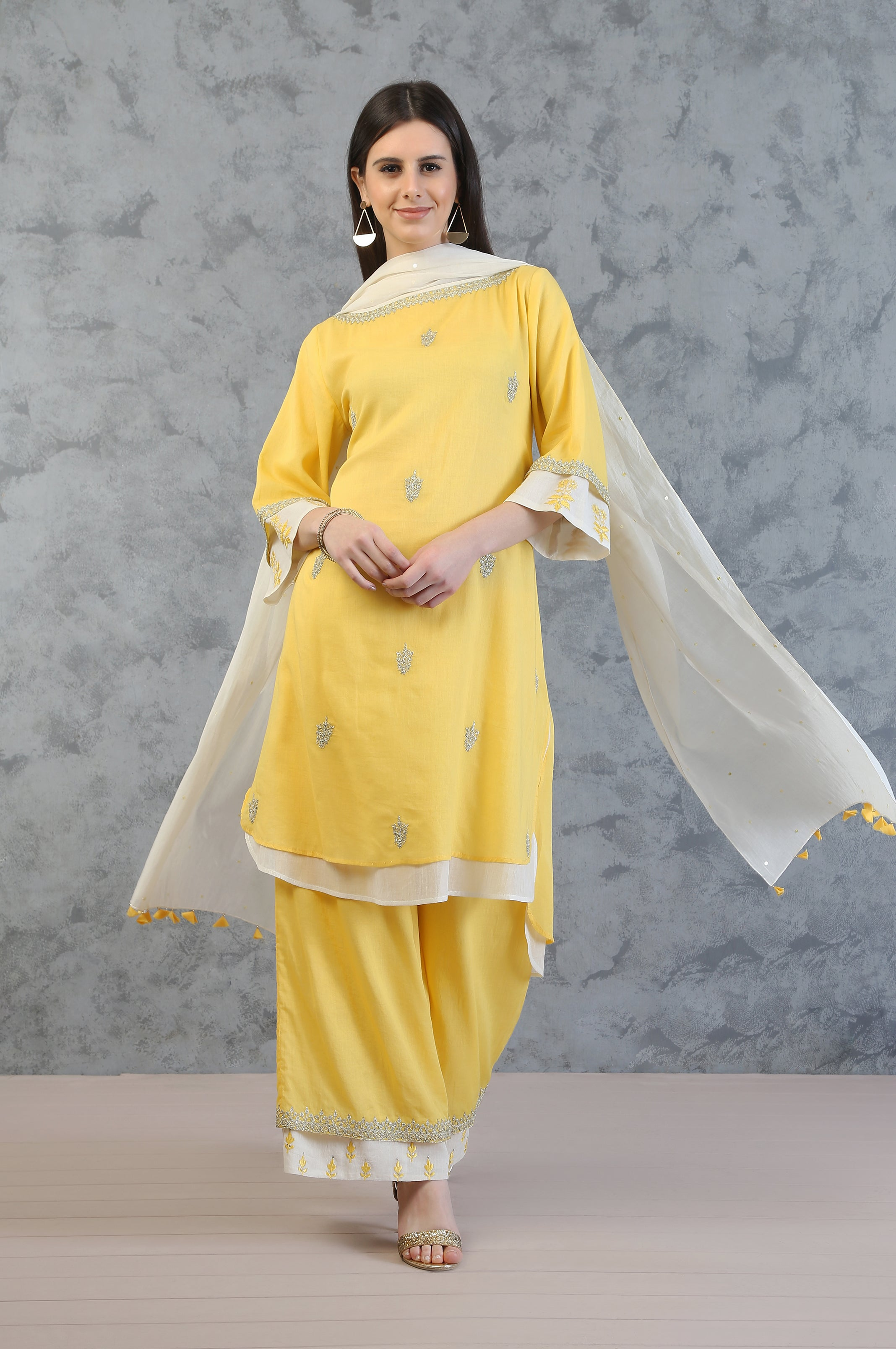 DOUBLE LAYER TUNIC WITH FARSHI AND DUPATTA