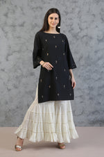 SHORT TUNIC WITH TIER GHARARA