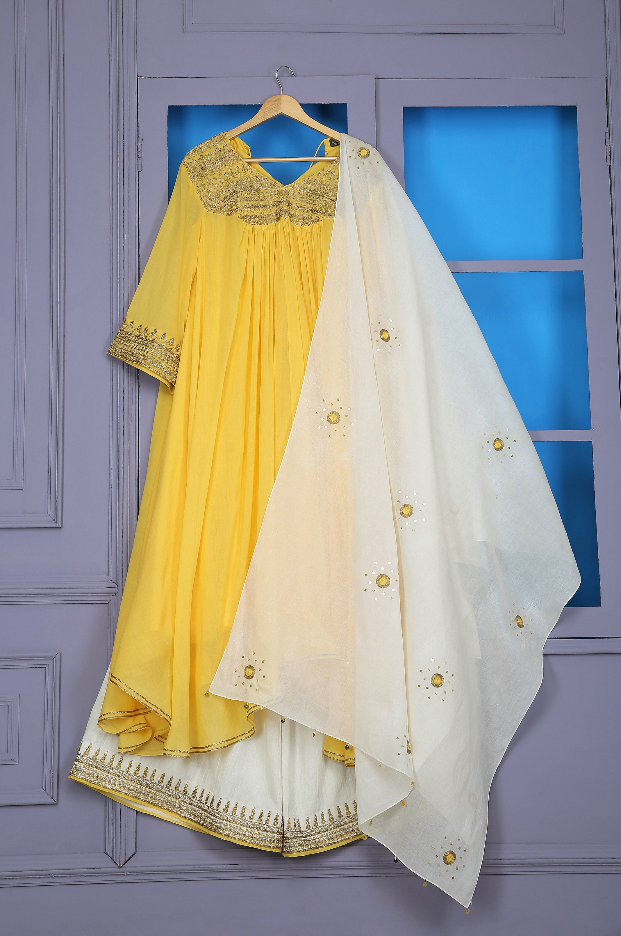 FLARED TUNIC WITH FARSHI AND DUPATTA