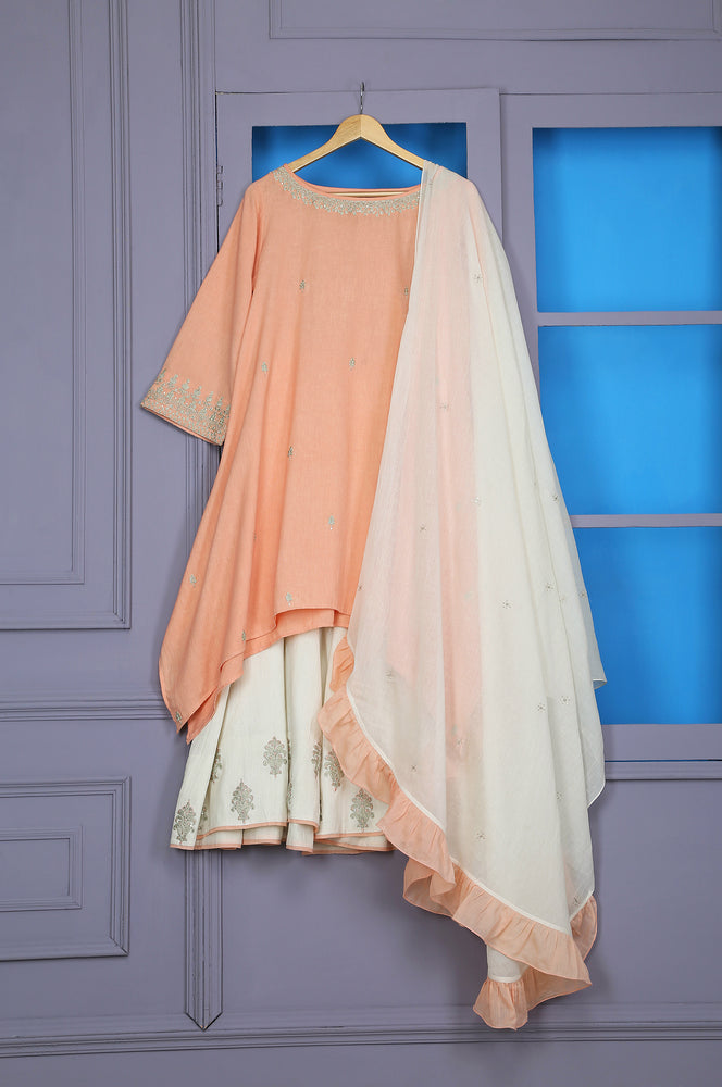 FLARED TUNIC WITH SHARARA AND RUFFLE DUPATTA