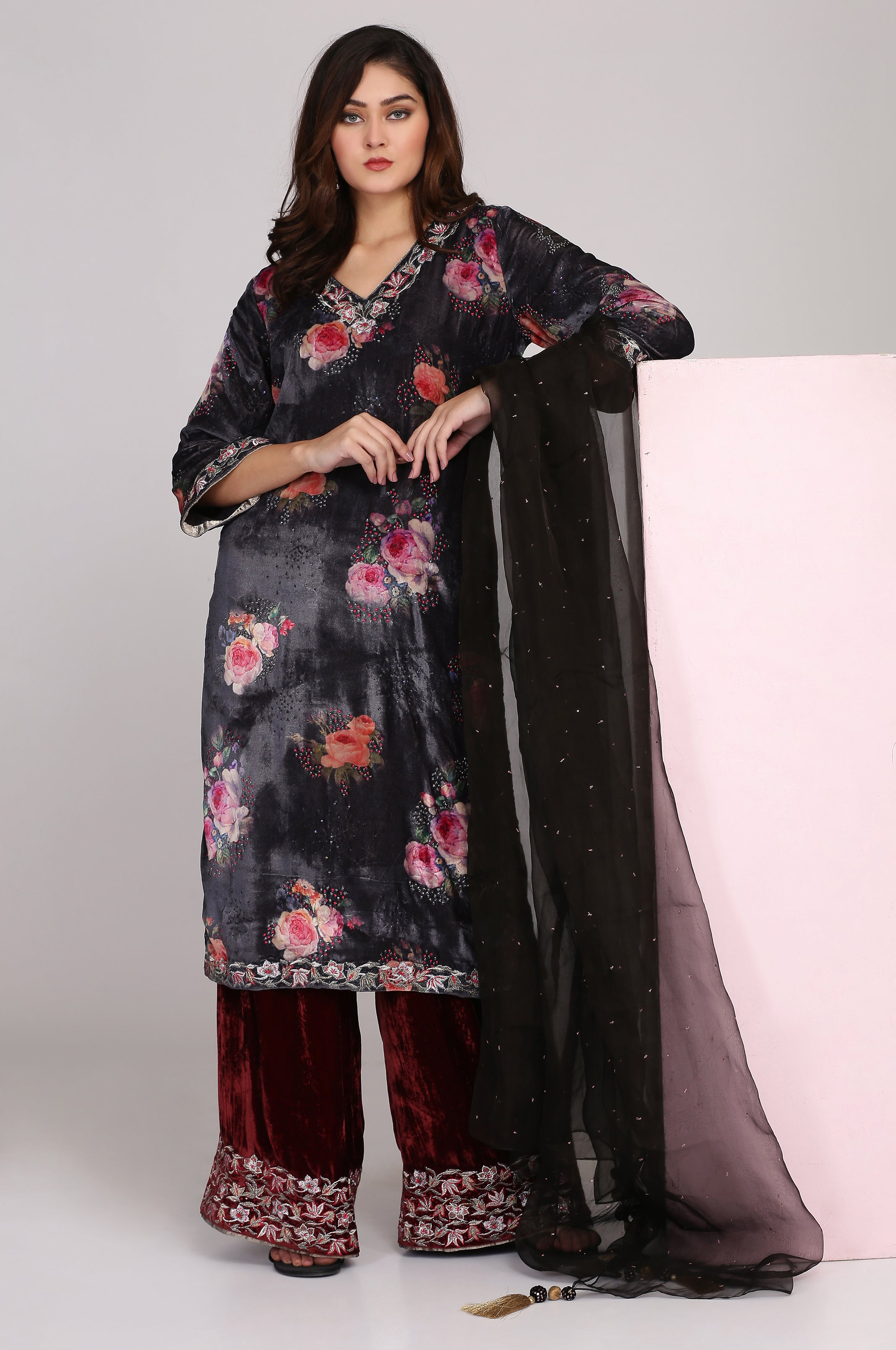 Printed Velvet Tunic with Loose Pants