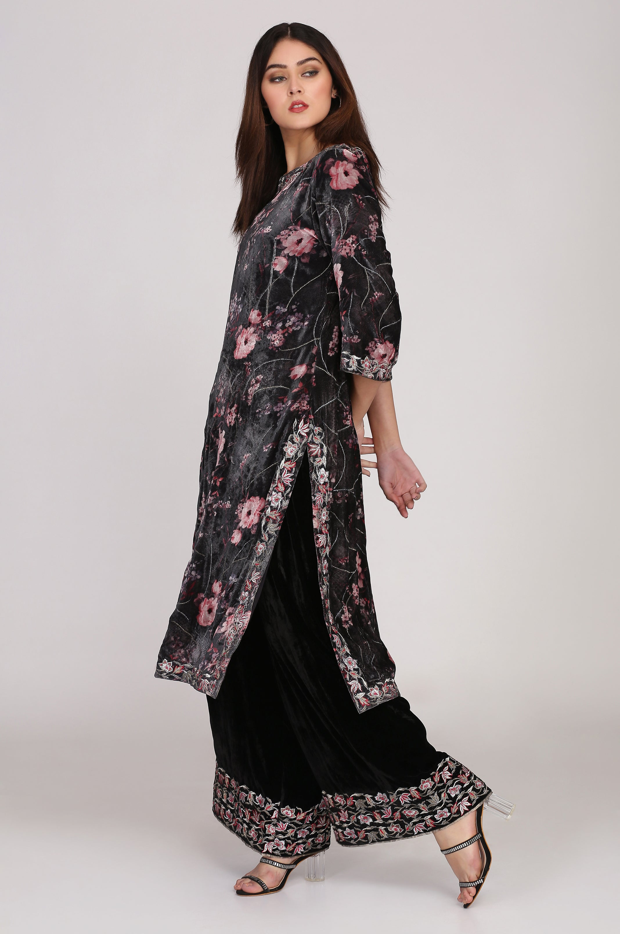 PRINTED CHARCOAL BLACK SILK VELVET TUNIC WITH BLACK PANTS