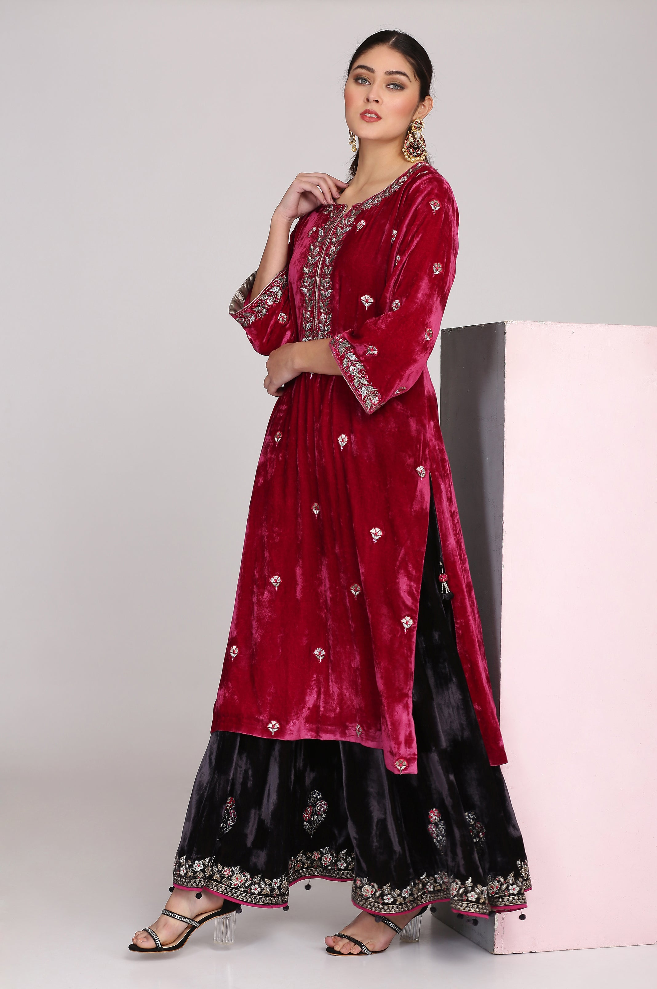RUBY PINK STRAIGHT TUNIC WITH CHARCOAL BLACK SHARARA