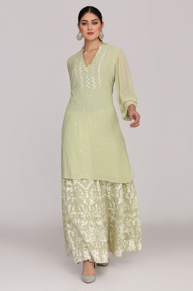 Geogette kurta with sharara and dupatta