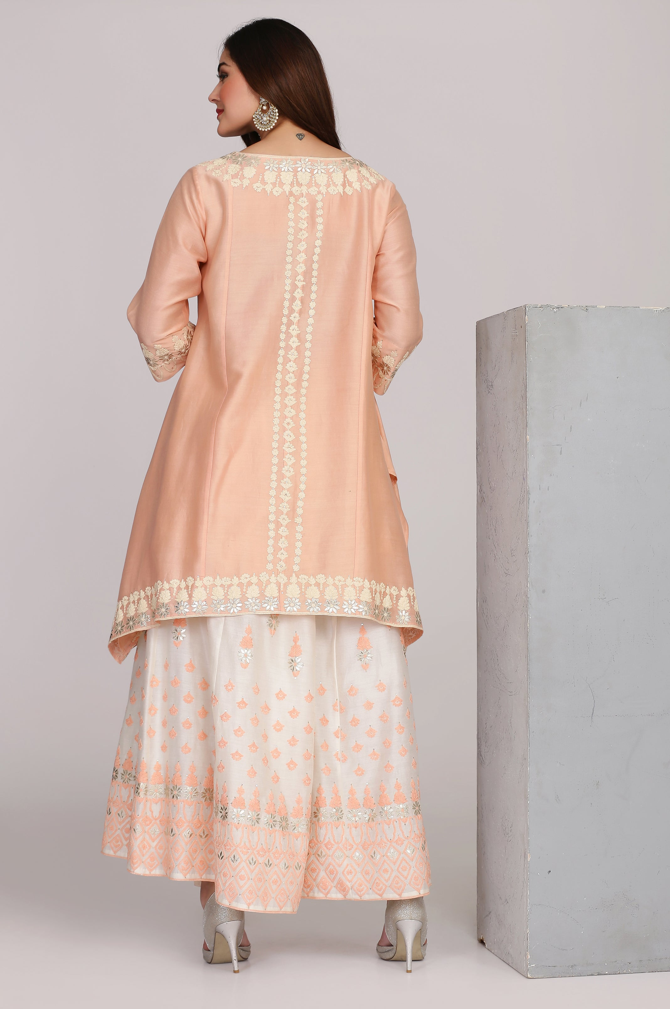 Chanderi assymetrical kurta with sharara and dupatta