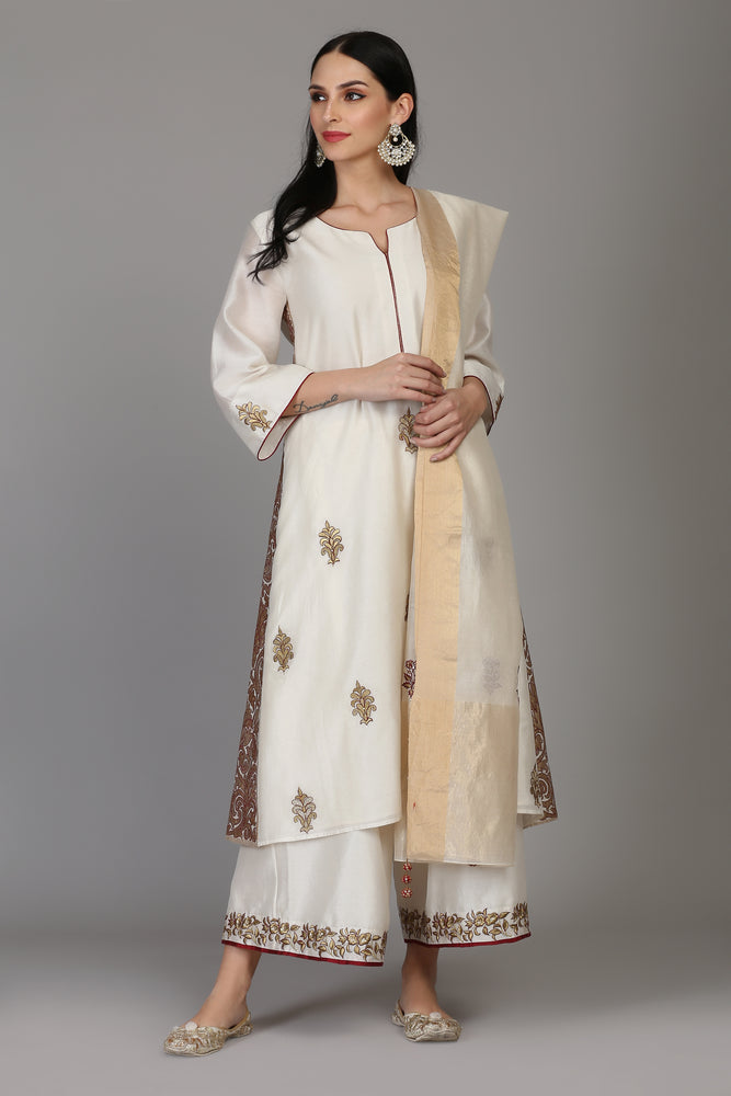 SIDE BANARASI KALI TUNIC WITH FARSHI AND DUPATTA