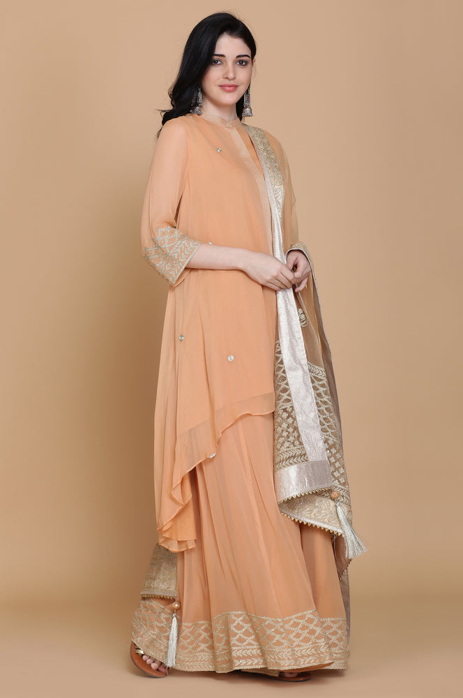 GEORGETTE ASYMMETRICAL TUNIC WITH SHARARA AND DUPATTA
