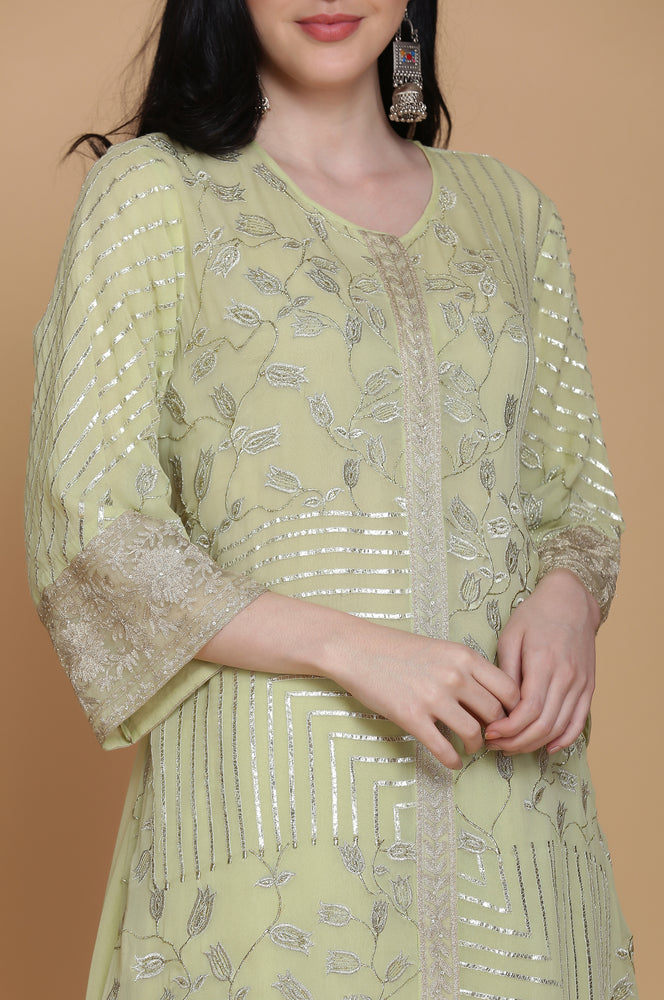 GEORGETTE DOUBLE LAYER HEAVY EMBROIDERED TUNIC WITH FARSHI