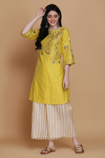 STRAIGHT TUNIC WITH STRIPED FARSHI AND DUPATTA
