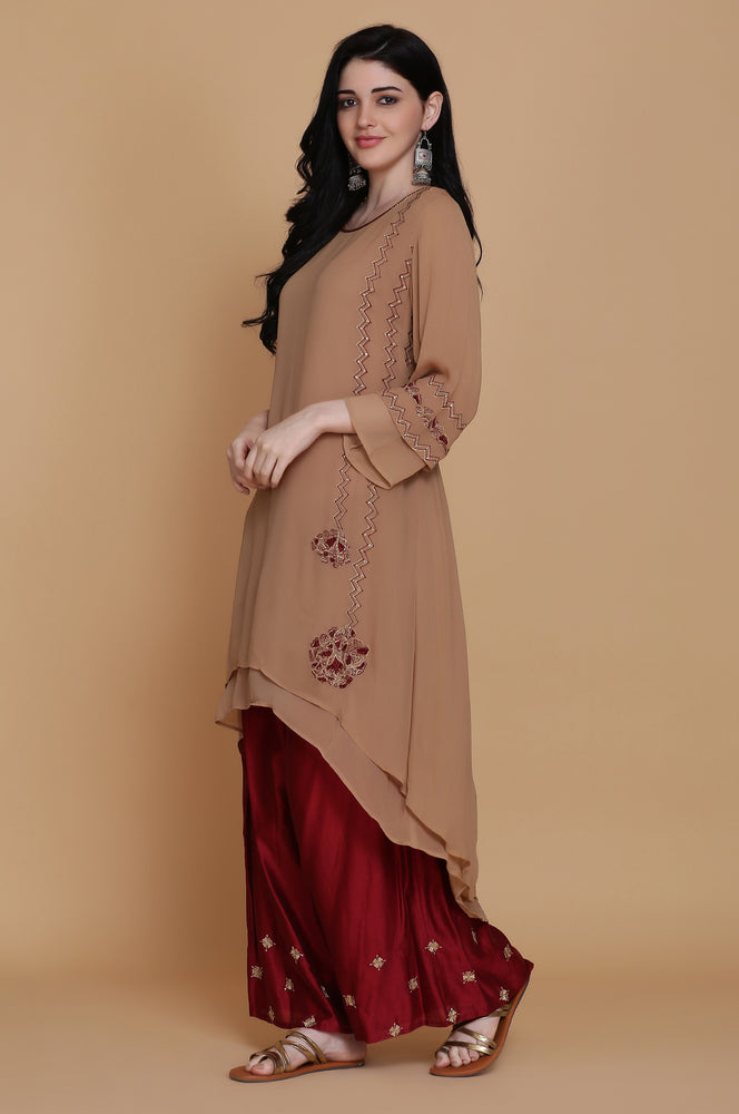 GEORGETTE DOUBLE LAYER TUNIC WITH FARSHI