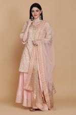 LIGHT PINK BANARASI TUNIC WITH SHARARA AND DUPATTA