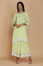 APPLE GREEN ASYMMETRICAL DOUBLE LAYER TUNIC WITH FARSHI