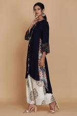 NAVY BLUE IKAT PRINT ASSYMETRICAL TUNIC WITH PRINTED FARSHI