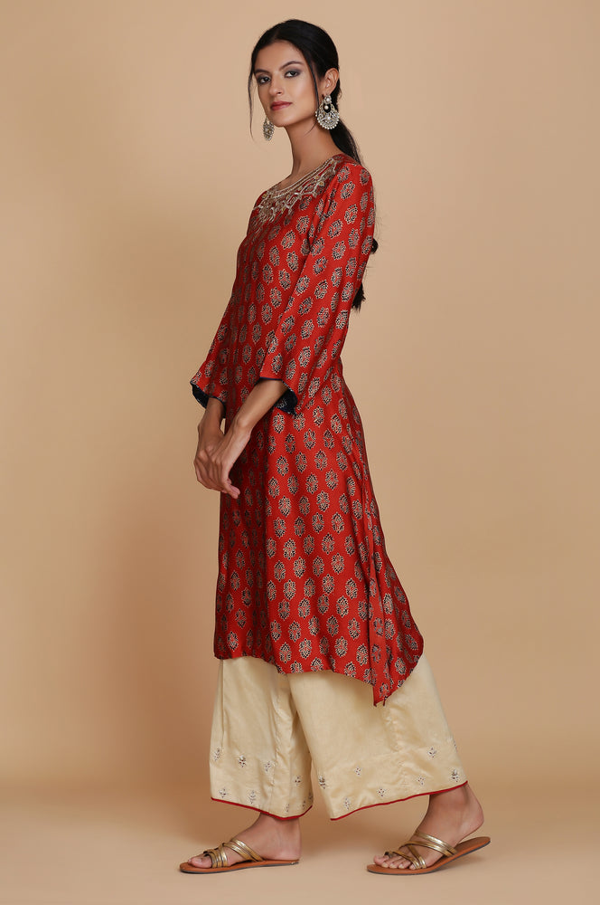 RUST AJRAKH DROP STYLE TUNIC WITH FARSHI