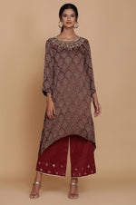 BROWN AJRAKH DROP STYLE TUNIC WITH FARSHI