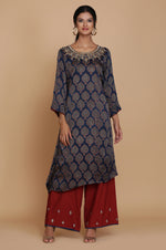 TEAL AJRAKH ONE SIDE DROP TUNIC WITH FARSHI