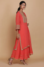 CORAL STRAIGHT TUNIC WITH SHARARA AND DUPATTA