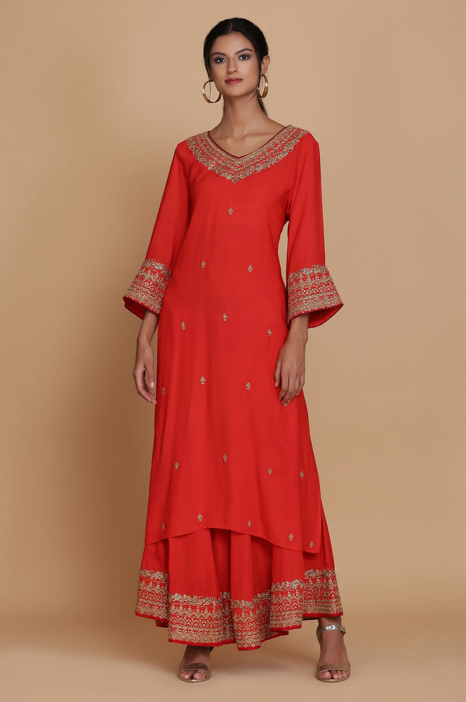 RED STRAIGHT TUNIC WITH SHARARA