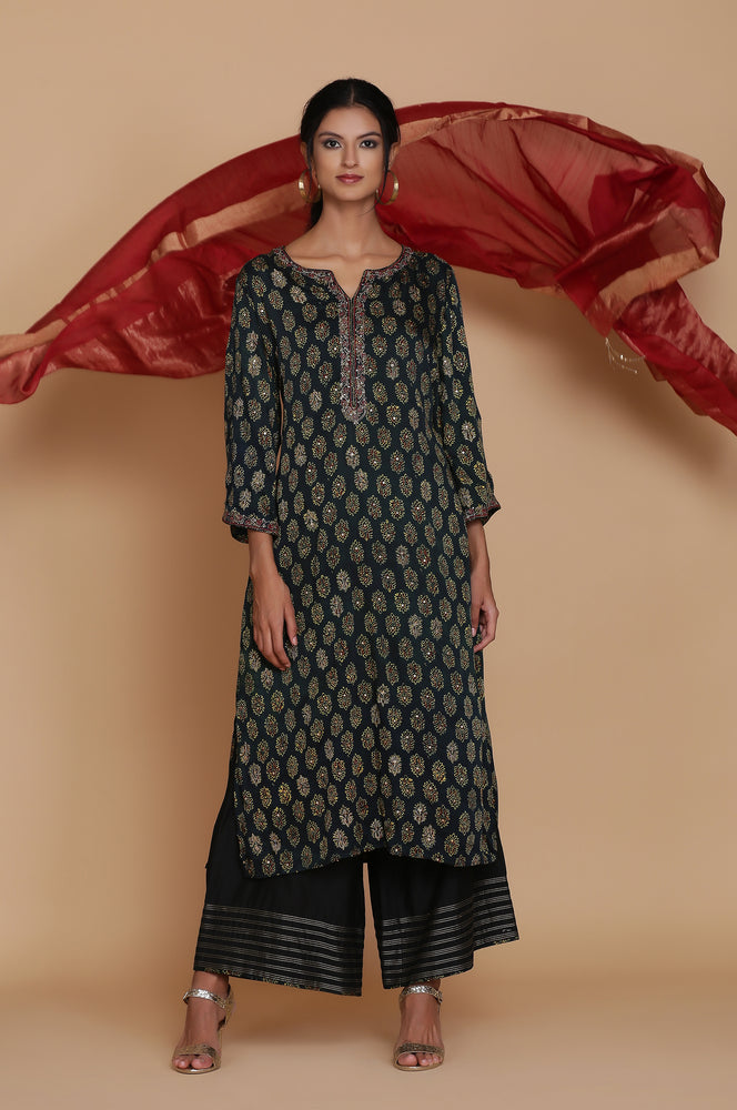 GREEN AJRAKH TUNIC WITH FARSHI AND DUPATTA