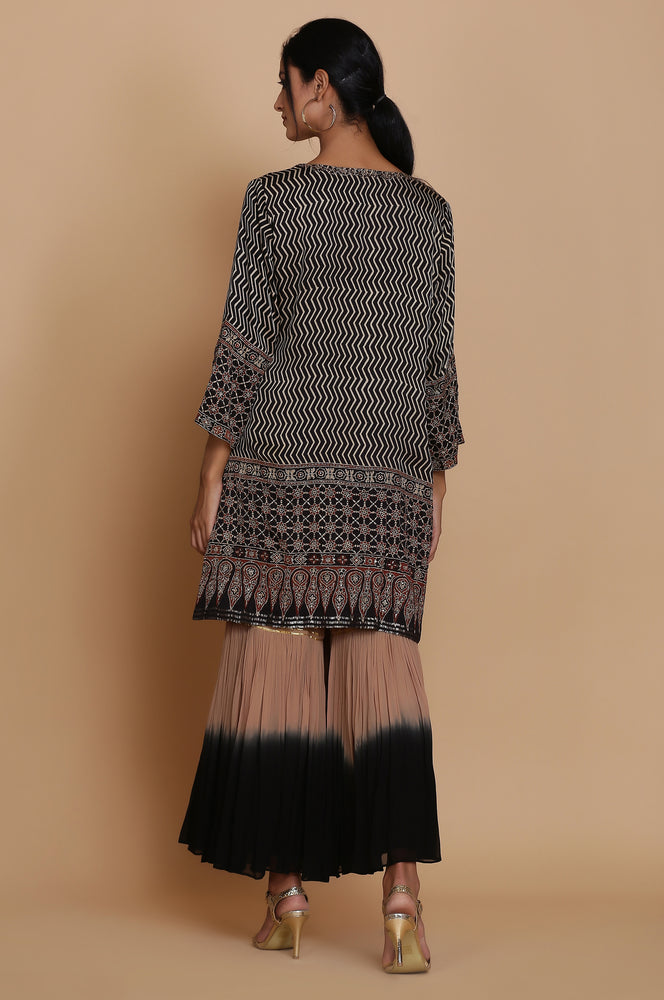 BLACK AJRAKH SHORT TUNIC WITH OMBRE GHARARA AND DUPATTA
