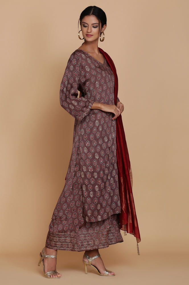 BROWN AJRAKH TUNIC WITH FARSHI AND DUPATTA