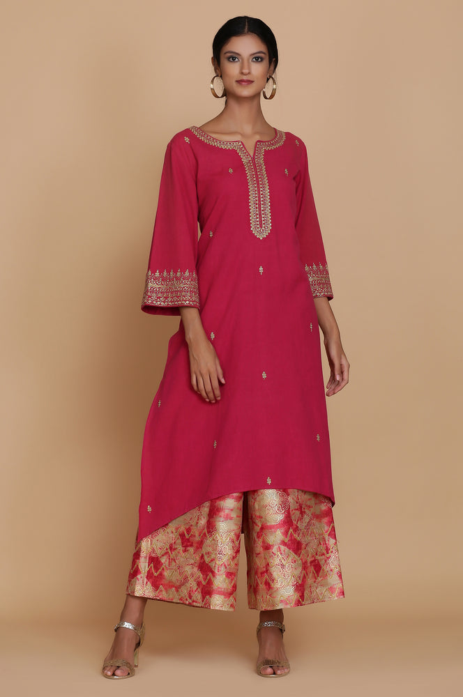 BURNT PINK LINEN TUNIC WITH DISCHARGE FARSHI