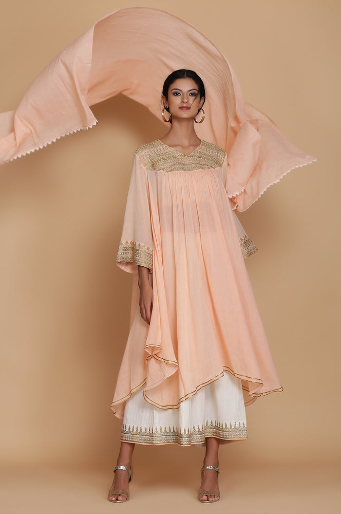 PEAVH ASSYMETRICAL FLARED TUNIC WITH FARSHI AND DUPATTA
