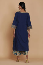 TEAL DROP STYLE TUNIC WITH DISCHARGE PRINT FARSHI