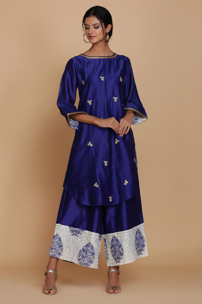 BLUE STRAIGHT TUNIC WITH FARSHI