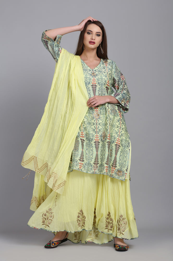 PRINTED TUNIC WITH SKIRT AND DUPATTA