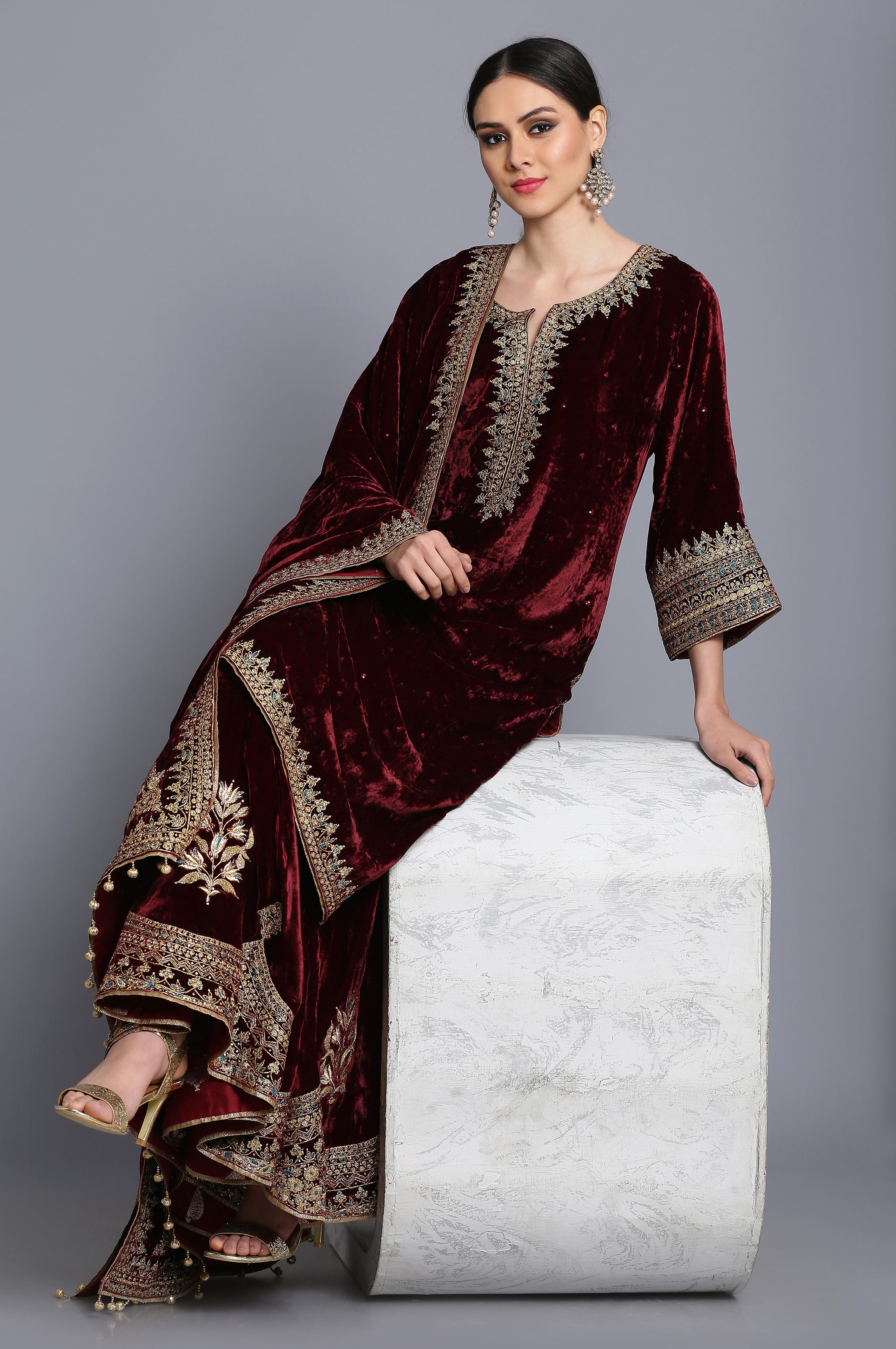 Silk velvet straight tunic with sharara and odhni