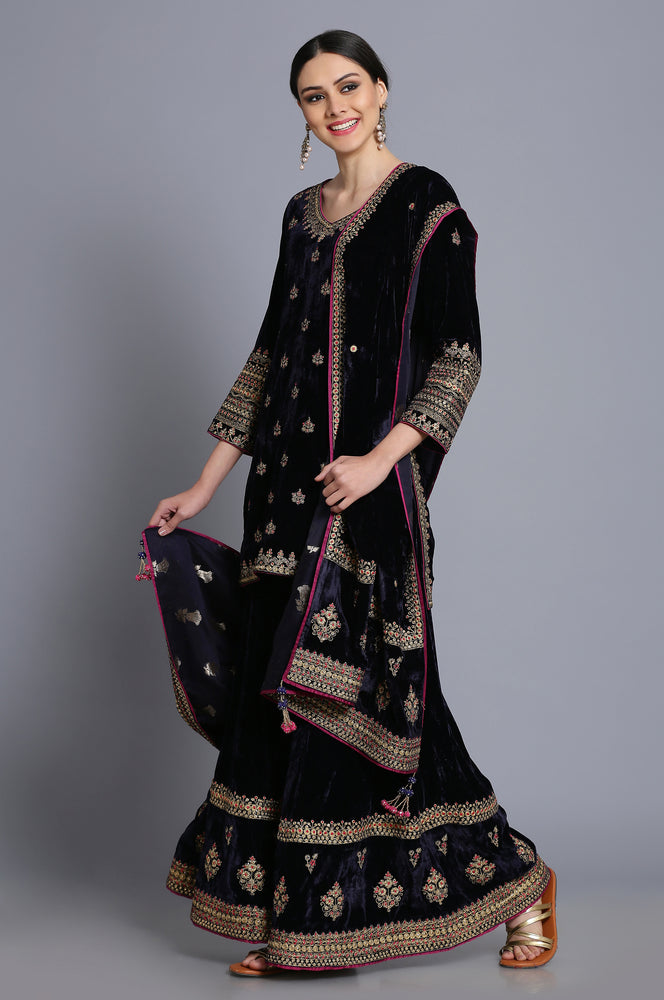 Silk velvte short tunic with sharara and odhni